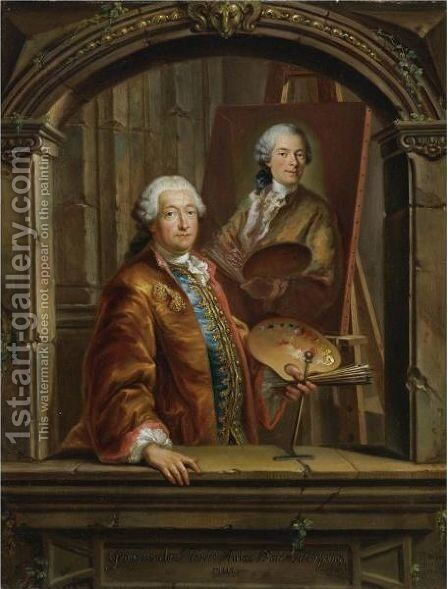 Portrait Of Georges Desmarees (1697-1776) At His Easel Painting A Portrait Of Johann Christian Thomas Winck (1738-1797) by Bartholomaus Ignaz Weiss - Reproduction Oil Painting