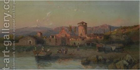 A Fishermen Village By Naples by Alessandro la Volpe - Reproduction Oil Painting