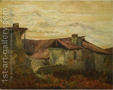 Old Farmhouses by Charles-Francois Daubigny - Reproduction Oil Painting