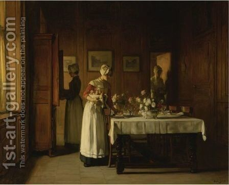 Setting The Table by Claude Joseph Bail - Reproduction Oil Painting