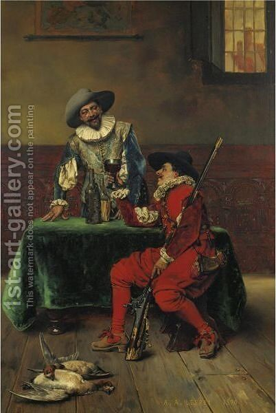 A Refreshment After The Hunt by Adolphe Alexandre Lesrel - Reproduction Oil Painting