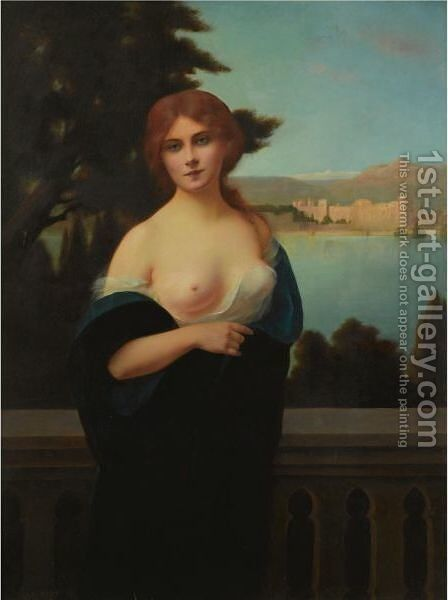 Young Woman In A Landscape by H. Rondel - Reproduction Oil Painting