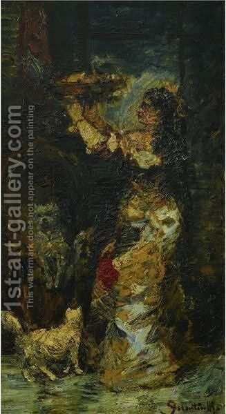 Woman In An Interior by Adolphe Joseph Thomas Monticelli - Reproduction Oil Painting