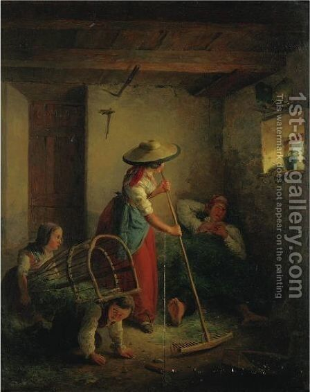 Cleaning The Stable by Eduard Ritter - Reproduction Oil Painting
