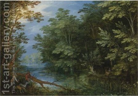 A Wooded River Landscape With Sportsmen by Jan The Elder Brueghel - Reproduction Oil Painting
