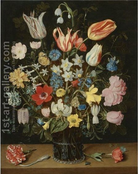 Still Life Of Roses, Tulips, A White Lily, Poppy Anemones, Narcissi, Carnations, Columbine, Hyacinth, Snowdrop, Cyclamen, Fritillary, Cornflower, Lily-Of-The-Valley, Crocus, Forget-Me-Not And Other Flowers by Isaak Soreau - Reproduction Oil Painting