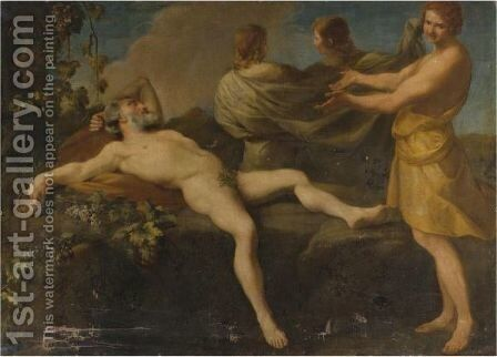 The Drunkenness Of Noah by (after) Andrea Sacchi - Reproduction Oil Painting