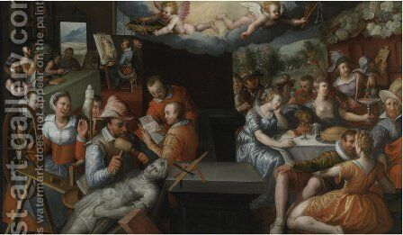 The Glorification Of Art And Diligence And The Punishment Of Gluttony And Earthly Pleasures by Jeremias van Winghen or Wingen - Reproduction Oil Painting