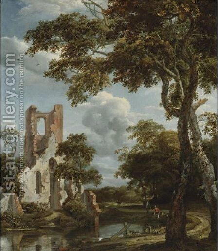 Fishermen On A River Bank Before The Ruins Of The Chapel Of Eyckendynen, Near The Hague by Jan van Kessel - Reproduction Oil Painting