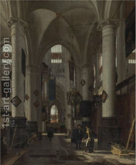 Interior Of A Protestant Gothic Church 3 by Emanuel de Witte - Reproduction Oil Painting