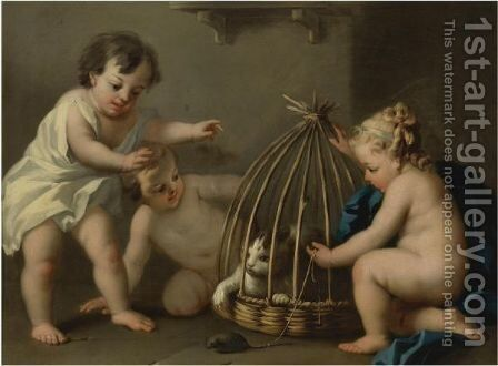 Putti Playing With A Cat by (after)  Jacopo (Giacomo) Amigoni - Reproduction Oil Painting