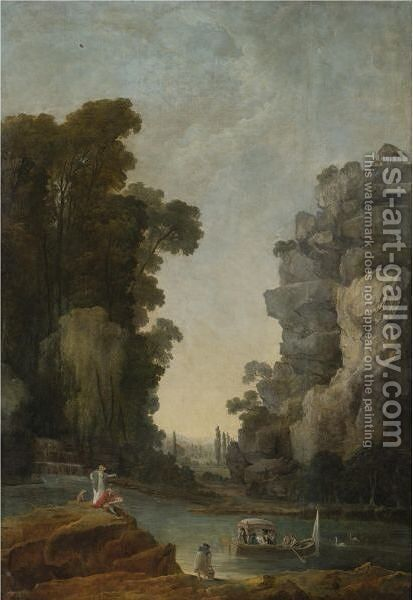 A Female Companion Observing A Boating Party In An Extensive Park by Hubert Robert - Reproduction Oil Painting