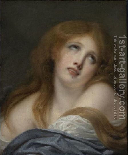 The Bust Of A Young Girl, Called Virginie by Jean Baptiste Greuze - Reproduction Oil Painting