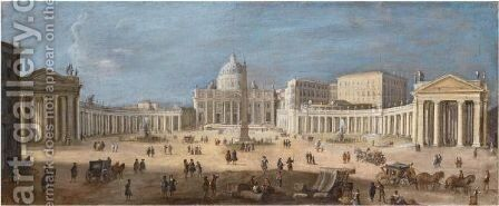 A View Of St. Peter's Basilica, Rome by (after) Caspar Andriaans Van Wittel - Reproduction Oil Painting
