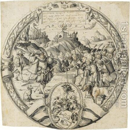A Roundel With A Historical Scene From And The Arms Of Thomann Of Zurich by Christoph Murer - Reproduction Oil Painting