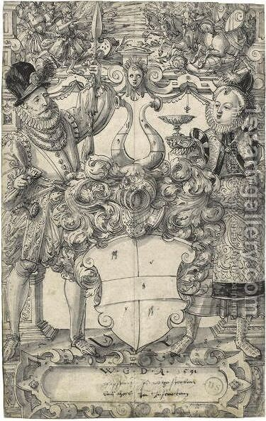 The Arms Of Habsberg Flanked By An Elegant Couple by Daniel Lindtmayer - Reproduction Oil Painting
