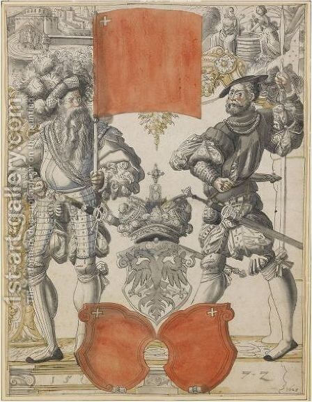 The Arms Of Canton Schwyz Between Two Militiamen, With Christ And The Woman Of Samaria Above by (after) Daniel Lindtmayer - Reproduction Oil Painting