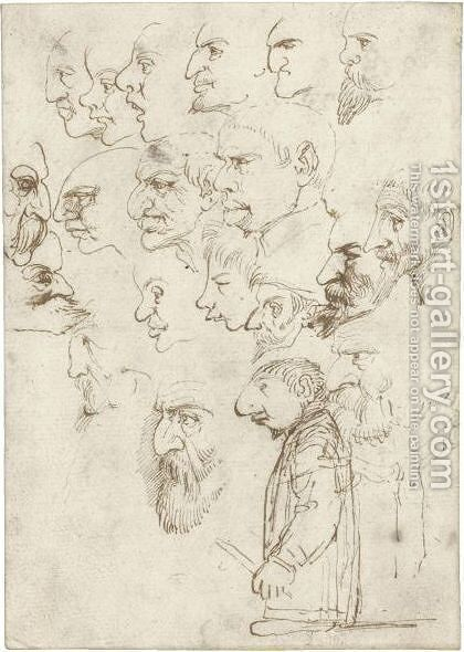 Sheet Of Studies Of 'Caricatures Of Famous Artists Of His Time' by Annibale Carracci - Reproduction Oil Painting