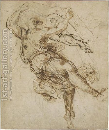 Study Of An Angel Holding A Curtain by (after) Bartolomeo Passarotti - Reproduction Oil Painting