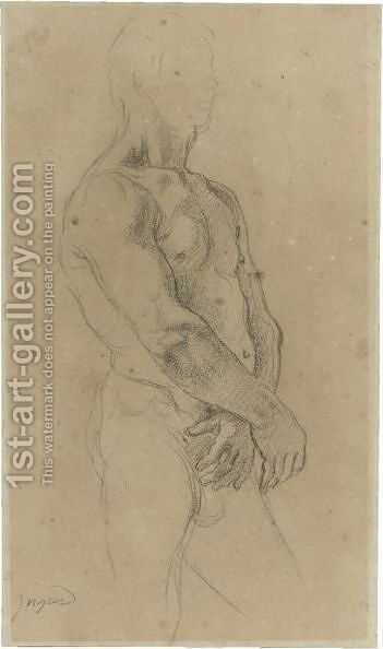 Study Of A Standing Male Nude, Turned Towards The Right by Jean Auguste Dominique Ingres - Reproduction Oil Painting