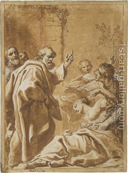 The Death Of Sapphira by Antonio Gionima - Reproduction Oil Painting