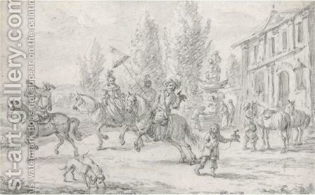 An Elegant Hawking Party Setting Off From A Country House by Barend Gael or Gaal - Reproduction Oil Painting