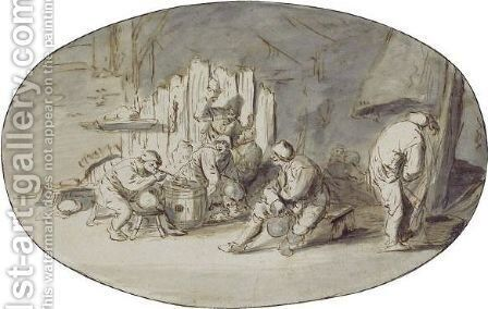 Interior With Carousing Peasants by (after) Isaack Jansz. Van Ostade - Reproduction Oil Painting
