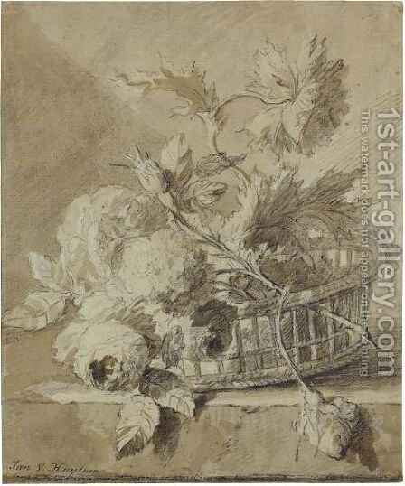 A Basket Of Flowers On A Plinth by Jan Van Huysum - Reproduction Oil Painting