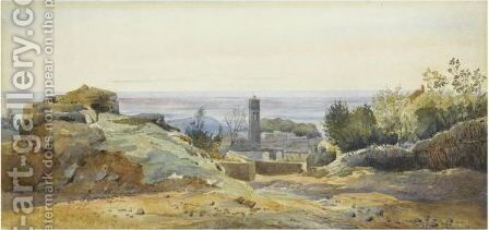 View Of Albano by (after) Henri-Joseph Harpignies - Reproduction Oil Painting