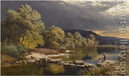 On The Llugwy, North Wales by Sidney Richard Percy - Reproduction Oil Painting