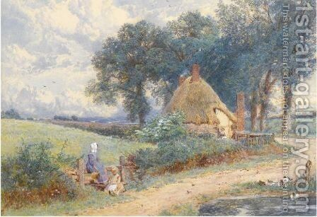 A Cottage Near Witley, Surrey by Myles Birket Foster - Reproduction Oil Painting