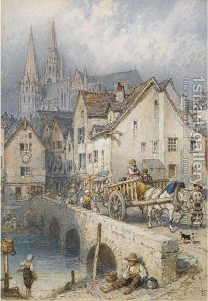 Chartres by Myles Birket Foster - Reproduction Oil Painting