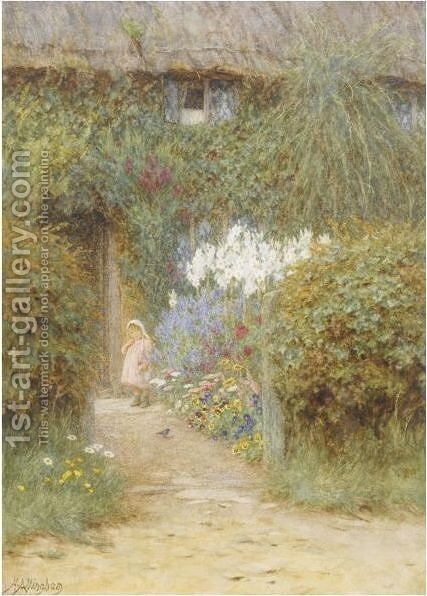 A Cottage At Redlynch by Helen Mary Elizabeth Allingham, R.W.S. - Reproduction Oil Painting