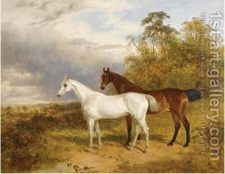 A Bay And Grey Horse In A Landscape by James Walsham Baldock - Reproduction Oil Painting