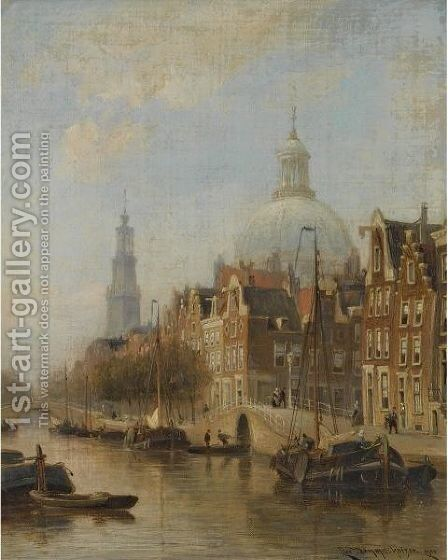 A View Of An Amsterdam Canal, Possibly The Nieuwezijds Voorburgwal, With The Nieuwe Lutherse Kerk And The Westertoren In The Distance by Cornelis Christiaan Dommelshuizen - Reproduction Oil Painting