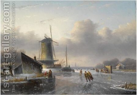 Skaters On A Frozen River, A 'Koek En Zopie' In The Distance by Jan Jacob Coenraad Spohler - Reproduction Oil Painting
