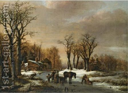 A Winter Landscape With Skaters And Figures By A Horse Sledge On The Ice by Barend Cornelis Koekkoek - Reproduction Oil Painting