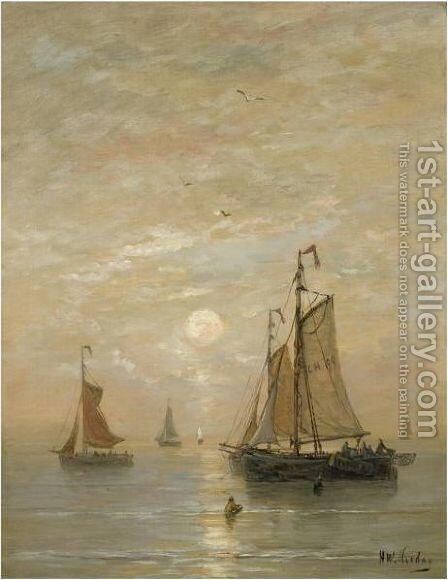 Anchored Bomschuiten At Sunset by Hendrik Willem Mesdag - Reproduction Oil Painting