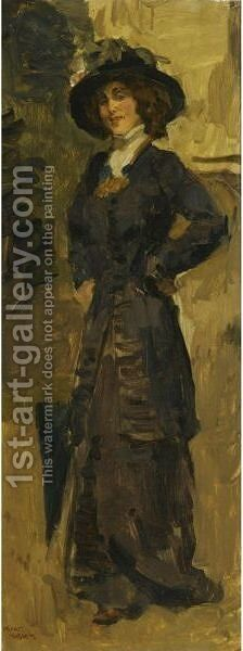 Sophie De Vries In An Elegant Dress by Isaac Israels - Reproduction Oil Painting