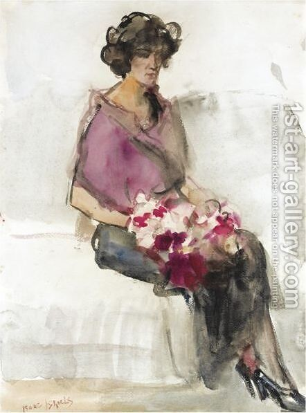 A Seated Lady With Flowers by Isaac Israels - Reproduction Oil Painting