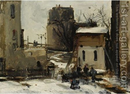 Village In Winter by Antoine Vollon - Reproduction Oil Painting