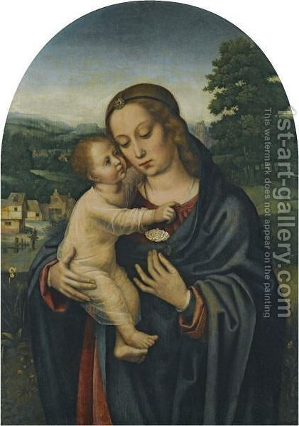 Virgin And Child In A Landscape by (after) Ambrosius Benson - Reproduction Oil Painting