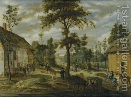 A Village Scene Outside An Inn With Two Horsemen And A Carriage Halted In The Foreground by Isaak van Oosten - Reproduction Oil Painting