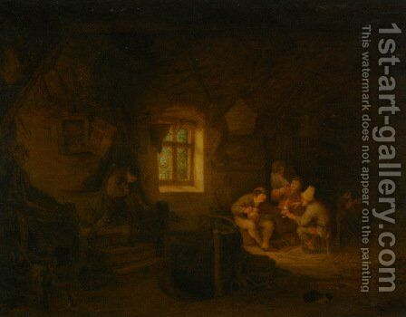 A Tavern Interior With Peasants Drinking Beneath A Window by Adriaen Jansz. Van Ostade - Reproduction Oil Painting