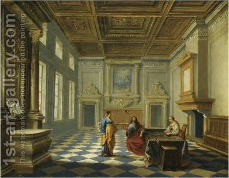 Christ In The House Of Mary And Martha by Hendrick Van Steenwijk II - Reproduction Oil Painting