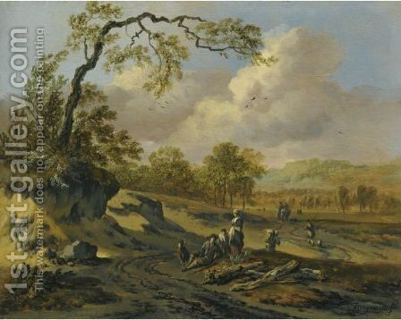 A Dune Landscape With Travellers by Jan Wijnants - Reproduction Oil Painting