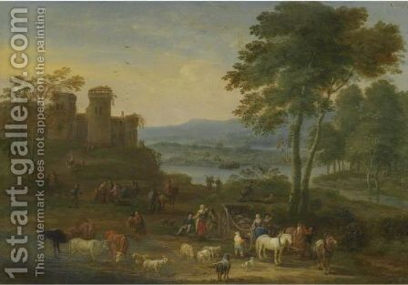 A River Landscape With Herders And Their Animals On A Path With Other Figures, A Village Beyond by Mathys Schoevaerdts - Reproduction Oil Painting
