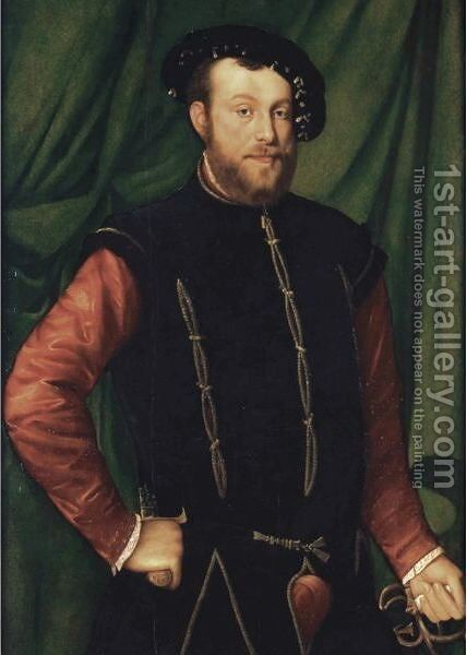 Portrait Of A Gentleman, Three-Quarter Length, Wearing A Black Cap, A Black-Slashed Singlet Over A Red Shirt, Holding A Sword by (after) Jan Steven Van Calcar - Reproduction Oil Painting