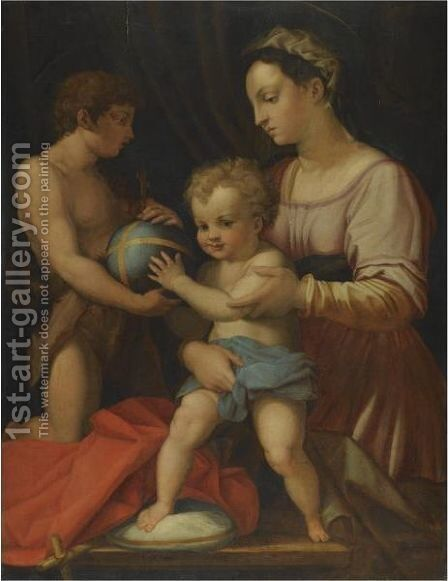 Madonna And Child With The Young St John The Baptist, 'The Borgherini Holy Family' by (after) Andrea Del Sarto - Reproduction Oil Painting