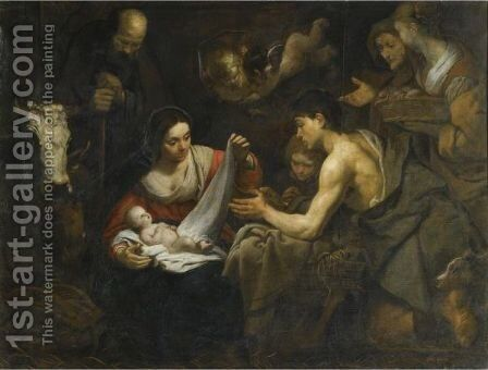 Adoration Of The Shepherds by (after) Jacob Van, The Elder Oost - Reproduction Oil Painting